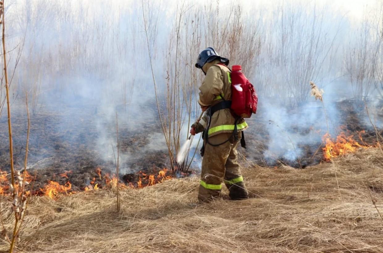 9 мая пожарные семь раз выезжали на тушение травы
