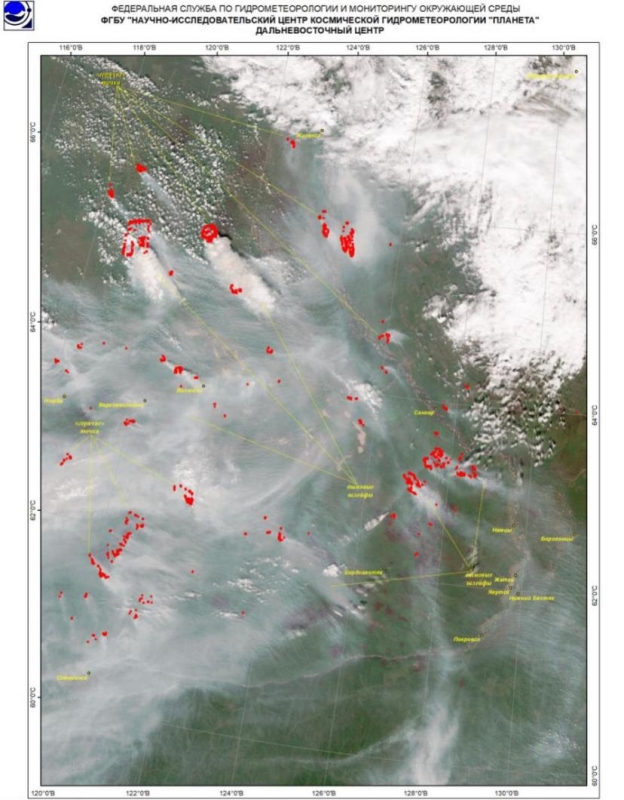 Якутск вчера накрыло дымом от пожаров в близлежащих районах