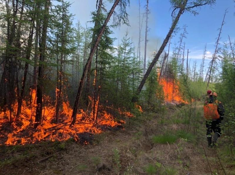 Лесной пожар, действующий в Намском улусе, подошел к границе Якутска